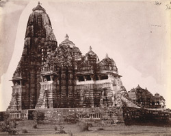 General view from the south-east of the Kandariya Mahadeo Temple, Khajuraho